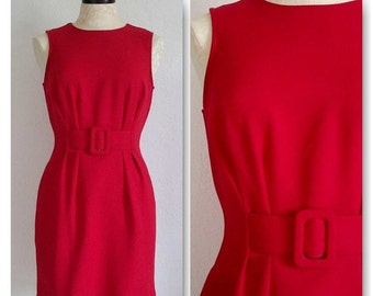 Vintage 1980s Red Wiggle Dress Belted Front Sleeveless- Perfect for the Holidays!