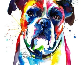 Colorful Boxer dog Art Print - Print of my Original Watercolor Painting
