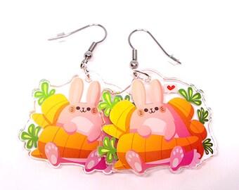 Cute bunny earrings, rabbit earrings, cute rabbit, rabbits, bunnies, kawaii, usagi, animal lover, easter, easter gift, easter bunny