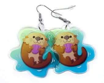 Cute Otter Earrings, kawaii animals, sea otter, river otter, cute earrings, kawaii earrings, accessories, fun gift, animal lover