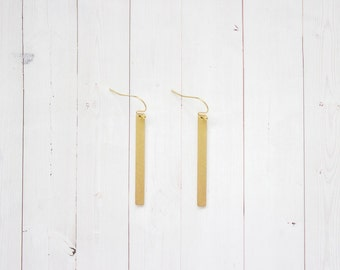 Minimal Brass Bar Dangle Earrings