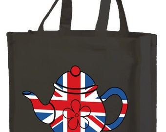 Best of British  Teapot Cotton Shopping Bag with gusset and long handles, 3 colour options