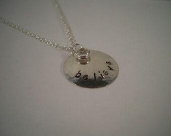 Believe Hand Stamped Metal Necklace
