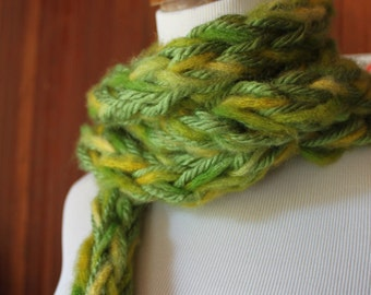 Long Knit Scarf- Soft Chunky Light Green and Yellow, womens fashion accessories, Handknitted Scarf