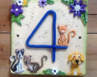 House number sign, address number plaque, Ceramic, Personalised Pets Design