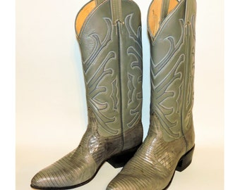 Vintage Tony Lama Stitched Gray Leather and Lizard Skin Cowboy Cowgirl Mens Womens Boots Sz 5.5 B