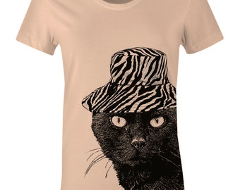 Cat in Hat Shirt - Black Cat TShirt - American Apparel Womens Poly Cotton T-Shirt - Item 1144