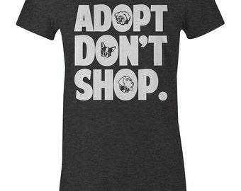 Adopt Don't Shop Animal Advocacy TShirt - American Apparel Women's Poly Cotton T-Shirt - Item 1007