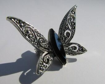 Vintage Butterfly Brooch, Filigree Butterfly Pin, Silver Butterfly Brooch, Marcasite Butterfly, Black Rhinestone Butterfly, Free US Shipping