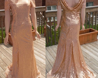 Cowl back dress, rose gold sequin bridesmaid dress, rose gold sequin dress