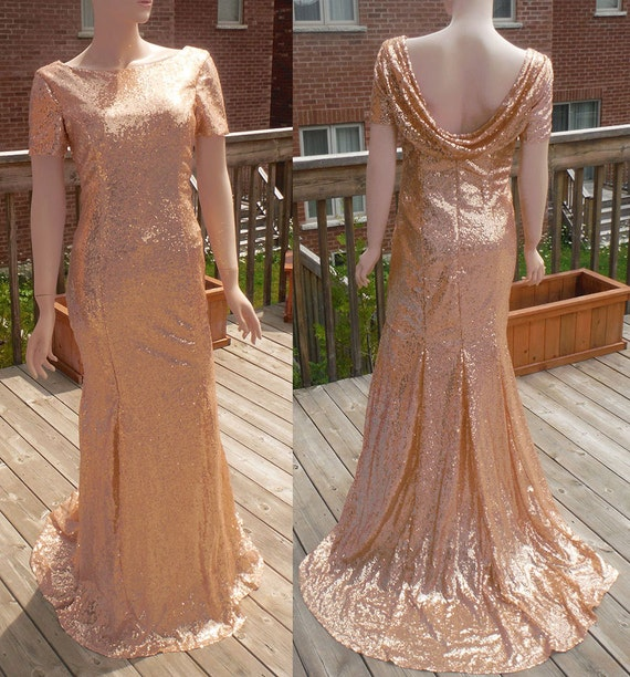 Cowl Back Bridesmaid Dress: Cowl Back Dress Rose Gold Sequin Bridesmaid Dress Rose Gold