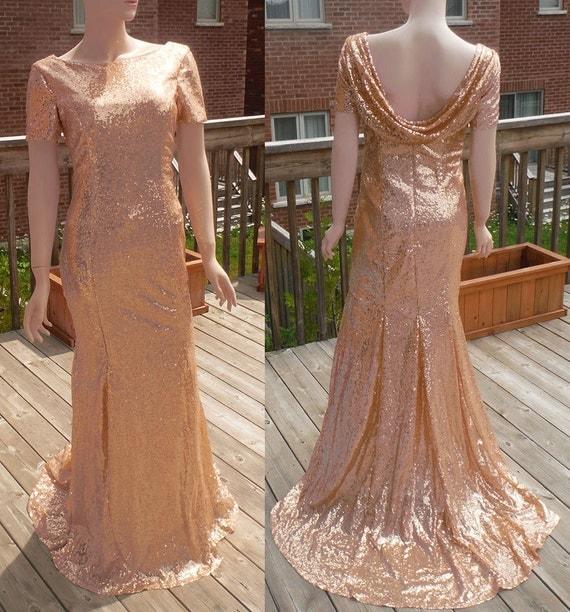 Cowl back dress rose gold sequin bridesmaid dress rose gold for Gold sequin wedding dress