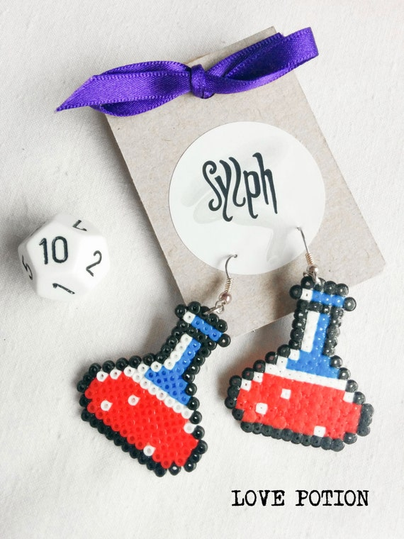 Pixelated Love Potion earrings for gamer girls in 8bit style that give you NO guarantee at love