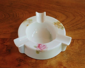 Reinhold Schlegelmilch Porcelain Ashtray, RS Germany Victorian Floral Transfer Early 1900s Bureau Jewelry Tray