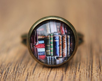 Book Ring,  Glass Dome Ring, Adjustable Ring, Book Lover, Gifts for Readers, Gifts for Her, Simple Ring, Everyday Jewellery, Book Jewellery