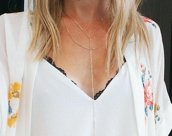 Gold Layered Heart Necklace | Gold Lariat Necklace, Y Necklace Long Lariat Necklace, Dainty Lariat Necklace, Layered Minimalist Chain Drop