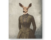 "Deer Art Print Animal Art Woodland Decor Anthropomorphic Animals In Clothes Fine Art Photography Collage (3 Sizes) ""Gentle Soul"""