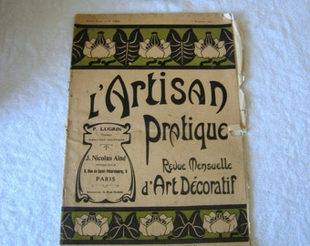 Fabulous French Artisan Magazine, creative Hobbies and Crafting, dated 1st September 1914', L'Artisan Pratique, Paris.
