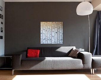 Aspen Birch Tree Painting Gold Copper Wall Art Nature Landscape Impasto Textured Painting | Made to Order