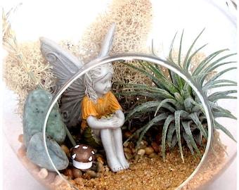 Lakeside Fairy Garden Terrarium II, Miniature Zen Garden ~ Thank You Gift ~ Birthday Gift For Mom ~ Home Decor ~ Housewarming Gift