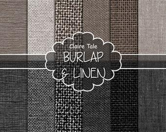 "Burlap and linen digital: ""BURLAP & LINEN PAPER"" with linen, canvas, burlap texture backgrounds in neutral brown beige and black"