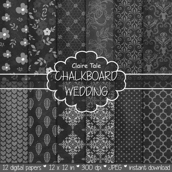 "Digital wedding paper: ""CHALKBOARD WEDDING"" paper with damask, lace, floral, flowers, hearts, polka dots, leaves, quatrefoil patterns"