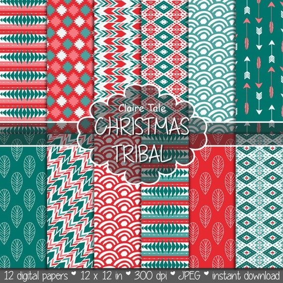 "Tribal digital paper: ""CHRISTMAS TRIBAL"" with tribal patterns and background, arrows, feathers, leaves, chevrons in christmas red and green"