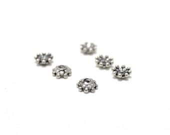 Sterling Silver 925 Bali Style Bead Caps 7mm 6pcs
