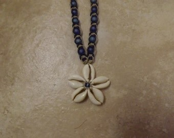 Sea Shell Macrame Blue Hemp Necklace, Clasp Ending, Beaded, Hemp Necklace, Hemp Jewelry, Beaded Jewelry