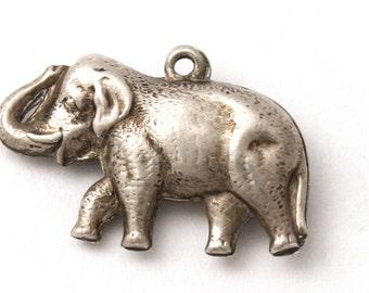 Puffy Elephant Bracelet Charm Vintage 1940's Sterling Silver Good Luck