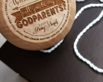 """Will you be my Godparents Yoyo with presentation box - laser engraved  (2.25"""" diameter)"""
