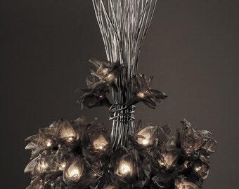 Handmade 30 Net Metal flowers ,Ceiling Light Chandelier.