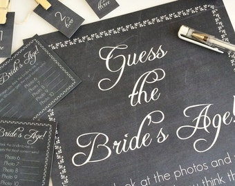 INSTANT DOWNLOAD Chalkboard Guess The Bride's Age Game // Bridal Shower // Leaf Border and Script Font // PDF // Charitable Donation