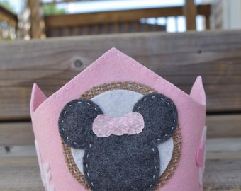 Minnie Mouse Birthday Crown for Birthday Party, Cake Smash, and Professional Photos