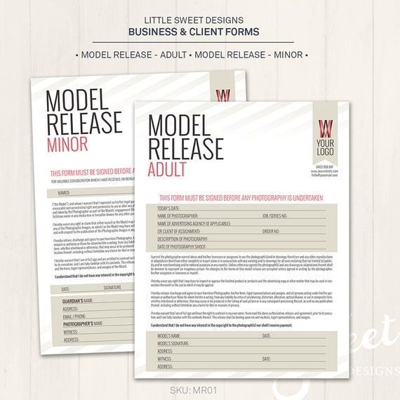 Photography Model Release Forms Adult & Minor Photoshop