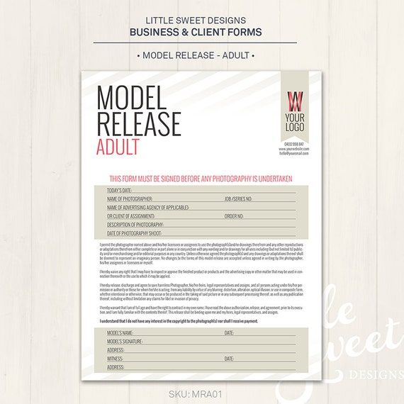 Photography Model Release Form Adult Photoshop Template – Photography Model Release Form