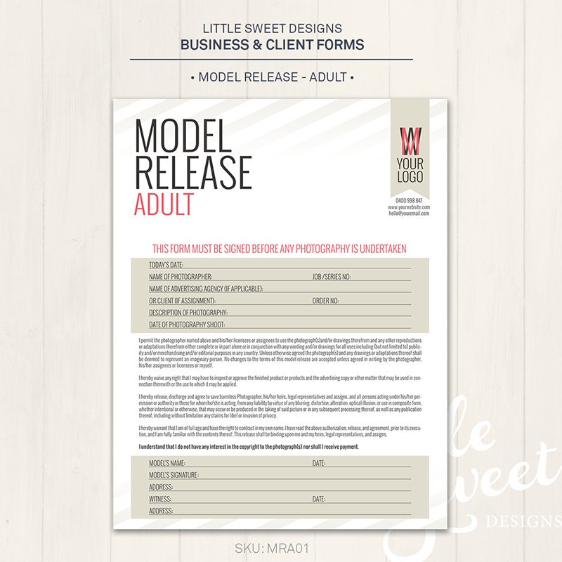 Photography Model Release Form Adult Photoshop Template
