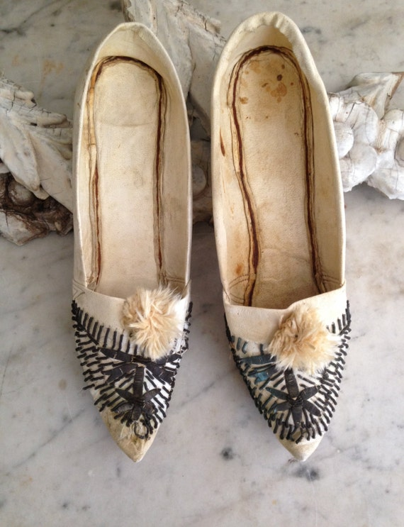 antique moroccan leather shoes with metal embroidery circa