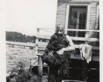 funny seaweed swamp creature ~ Vintage Snapshot Photo  ~ original black and white photography