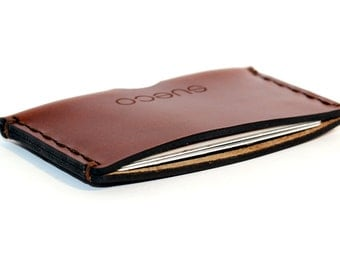 Hand-stitched slim wallet made of premium vegetable tanned leather.  Custom engraving - nice present / gift! best case for a credit card