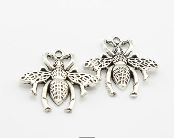 10pcs 24x26mm Cute Antique Silver Bee Charms  Pendant