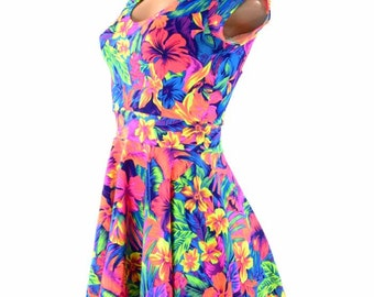 Tahitian Floral Print  Cap Sleeve Fit and Flare Skater Skate Dress Rave Festival Clubwear -151389