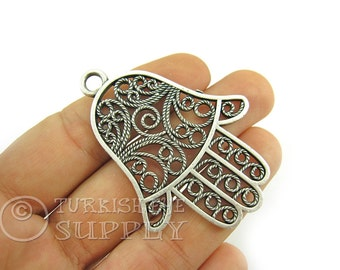 Large Hamsa, Hand of Fatima Filigree Pendant, Jewelry Supplies, Antique Silver Plated Turkish Jewelry, Silver Hamsa, Large Hamsa Pendant