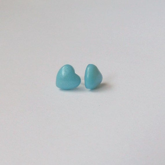 blue earrings plastic post metal free by takeheartcanada
