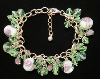 Vintage Lampwork Glass Beads with Light Green Crystals Charms Bracelet - Gold Tone Chain, Handmade Lampwork Glass Beads, Multi-charms Charm