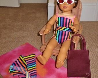 Doll Bathing Suit Set fits American Girl Doll/18 inch Doll Striped Swimwear/Beach Blanket/Doll Beach Bag/Beach Towel/AG doll clothes/sarong