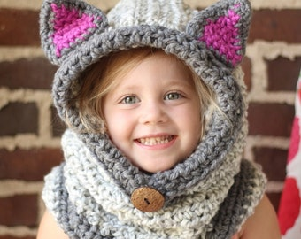 Kitty Cat Hooded Cowl  -  All Sizes Available