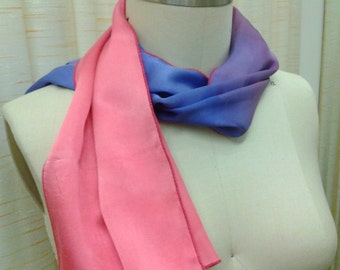 Pink and Lilac Ombre Silk Scarf