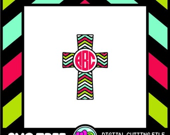 Cross Monogram Chevron Cross SVG Files DXF Files Vector Art Cricut Design Space Silhouette Studio Digital Cut Files