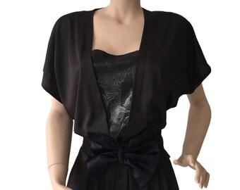 Shiny Black 1980s Jumpsuit Size M E D I U M